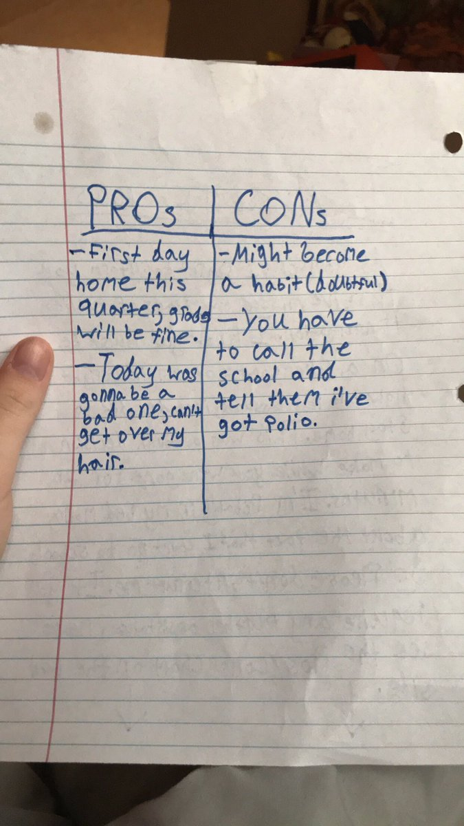 kid writes pros cons list missing school