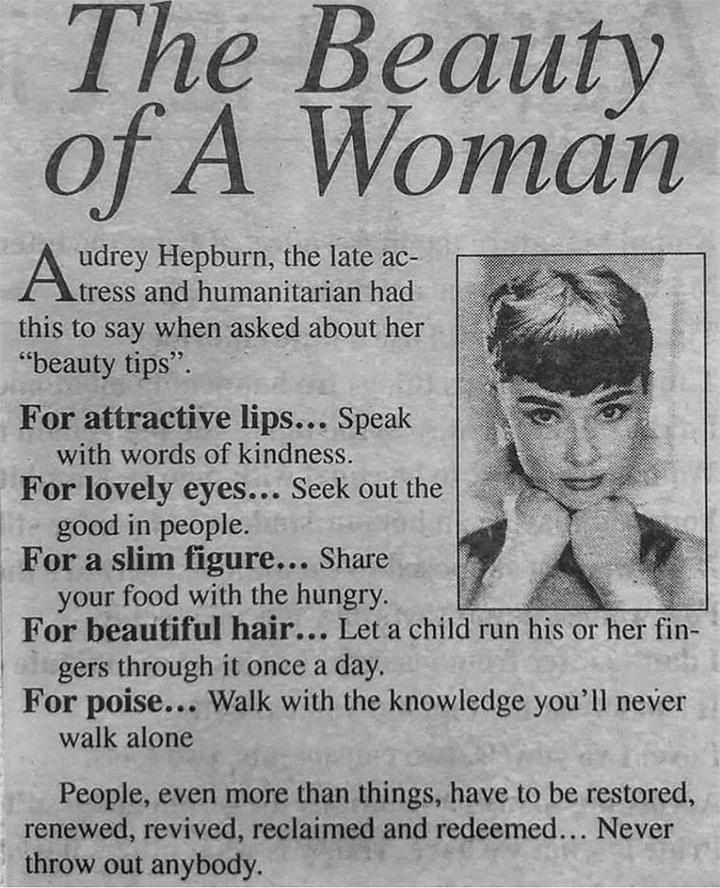Audrey Hepburn's Take On Beauty Is Beautiful Tyc0e-audrey-hepburn-beauty-tips