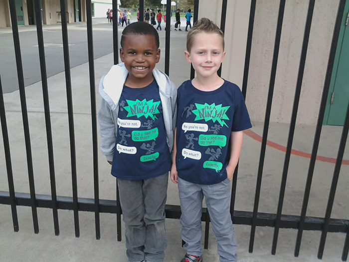 twin day black and white kids