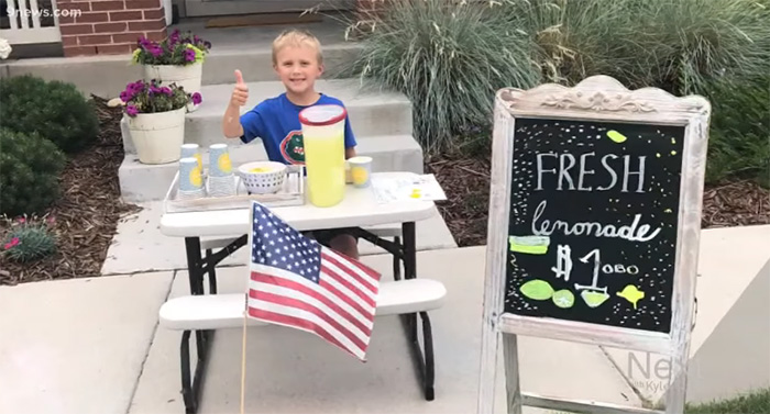 kid lemonade stand to take mom on date