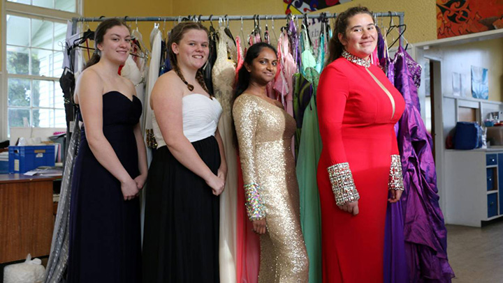 mom donates dresses to school
