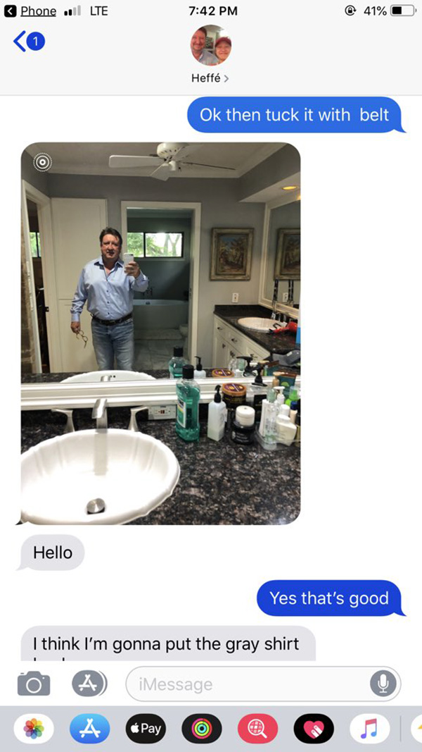 dad asks daughter fashion advice sends selfies of outfits