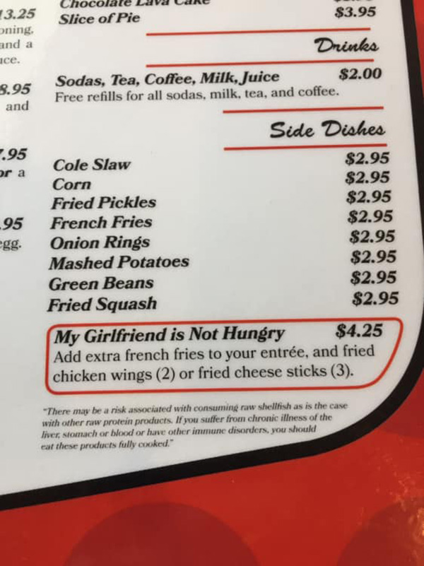 my girlfriend is not hungry restaurant