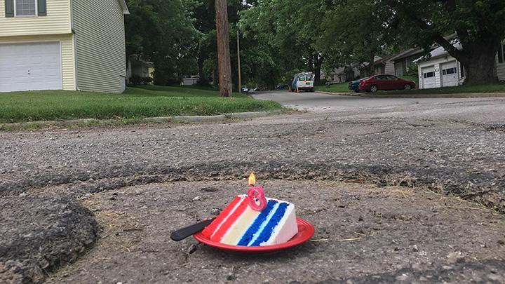 man throws pothole a birthday party