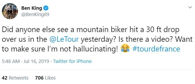 biker jumps over tour de france