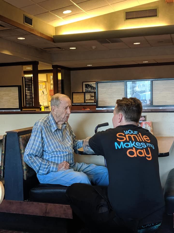 server dines with lonely old man