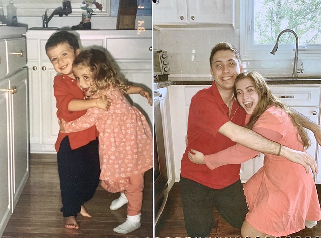 twins recreate childhood photos