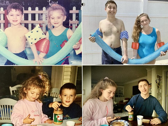 siblings recreate childhood photos