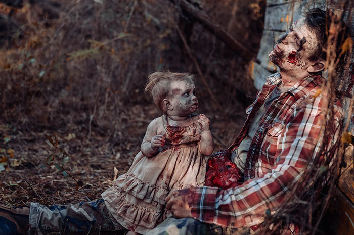 father daughter zombie photo shoot