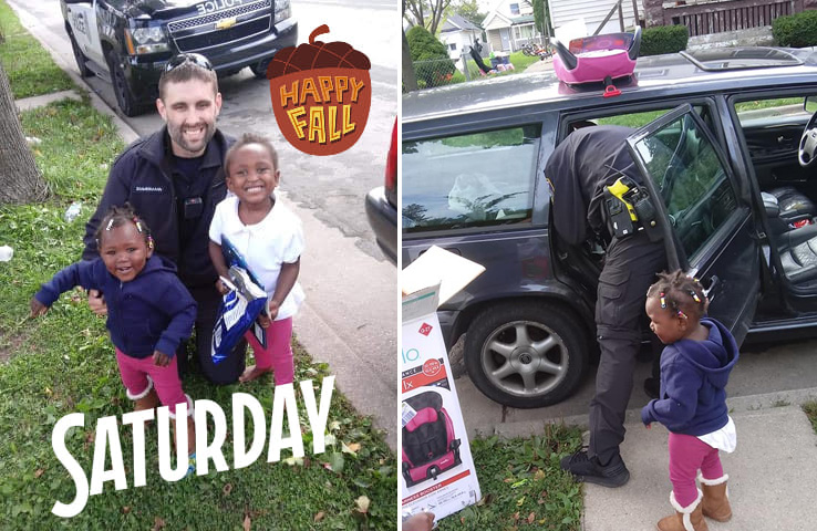 police officer buys mom car seats