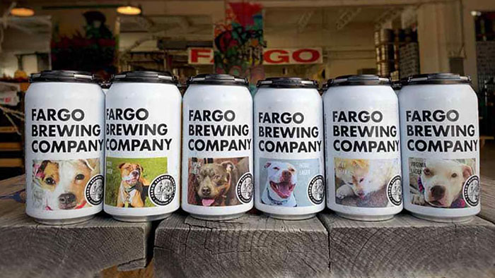 shelter dogs on beer cans