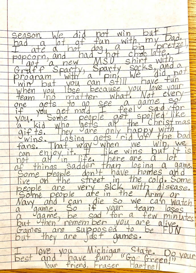 9 year old writes letter to MSU football