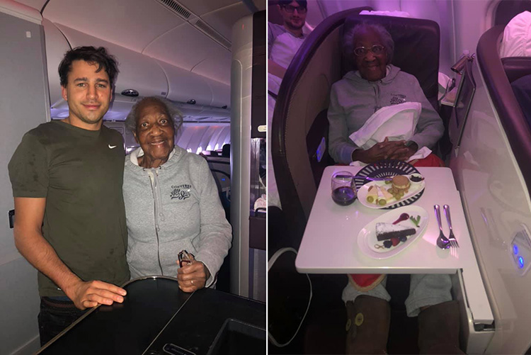 passenger gives first class seat to senior woman
