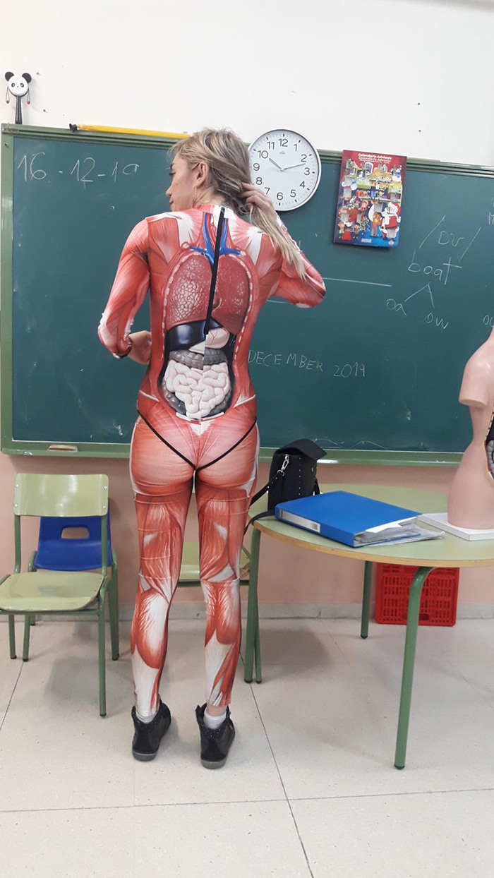 teacher wears body suit anatomy