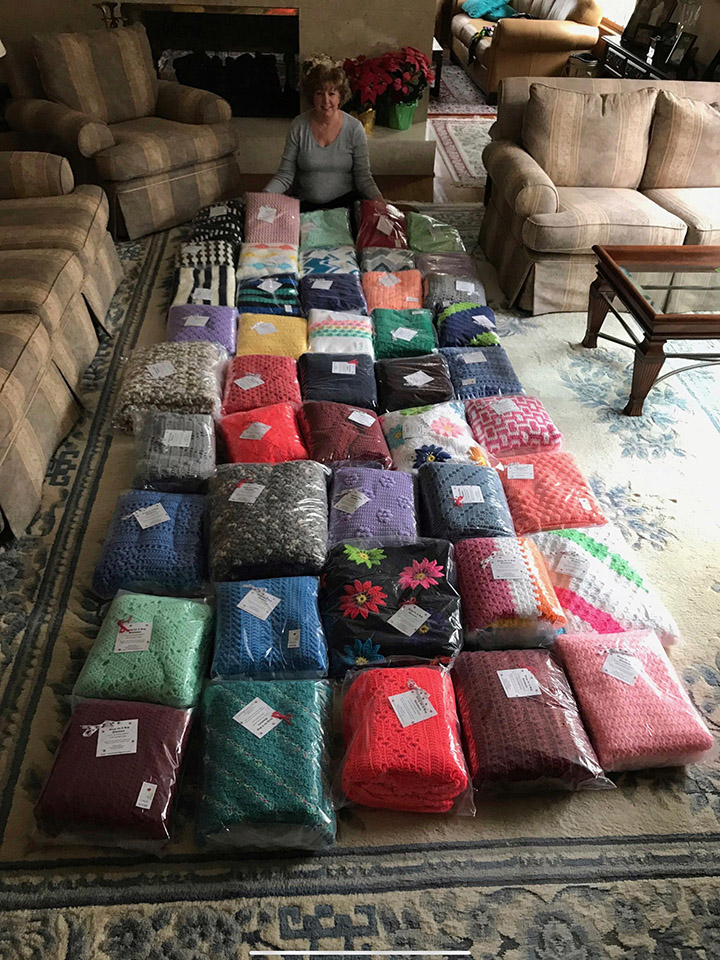 woman crochets 45 blankets for sick children