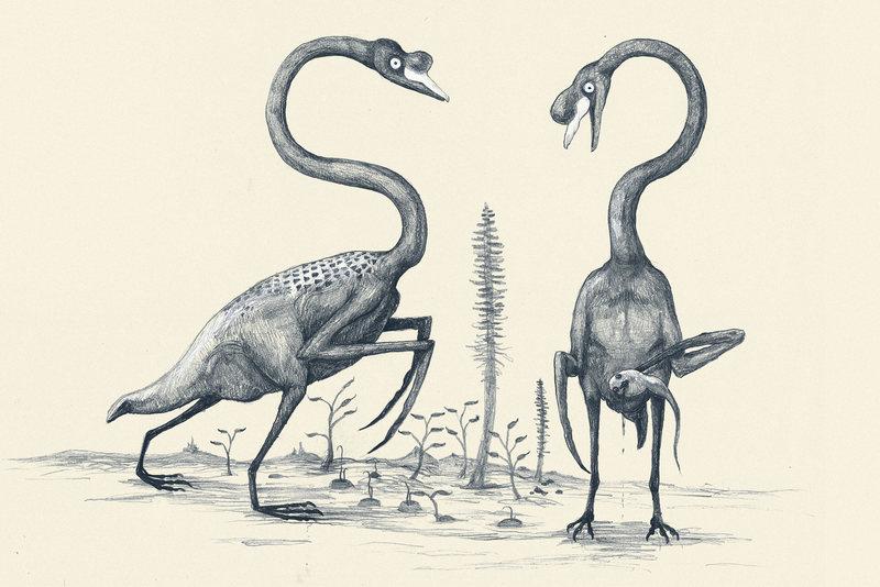 modern animals drawn as dinosaurs