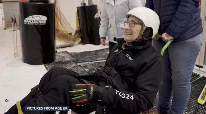 92 year old man skiing