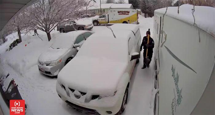 firefighters shovel snow for strangers
