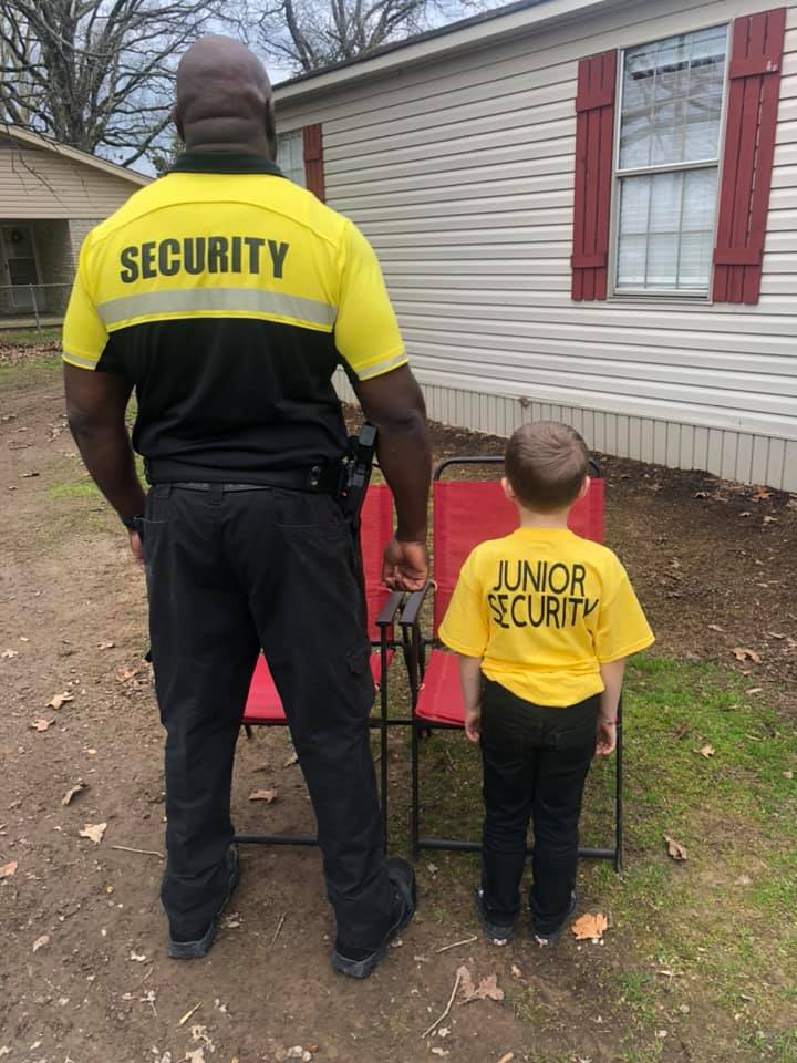 kid dresses up as school security guard favorite person day