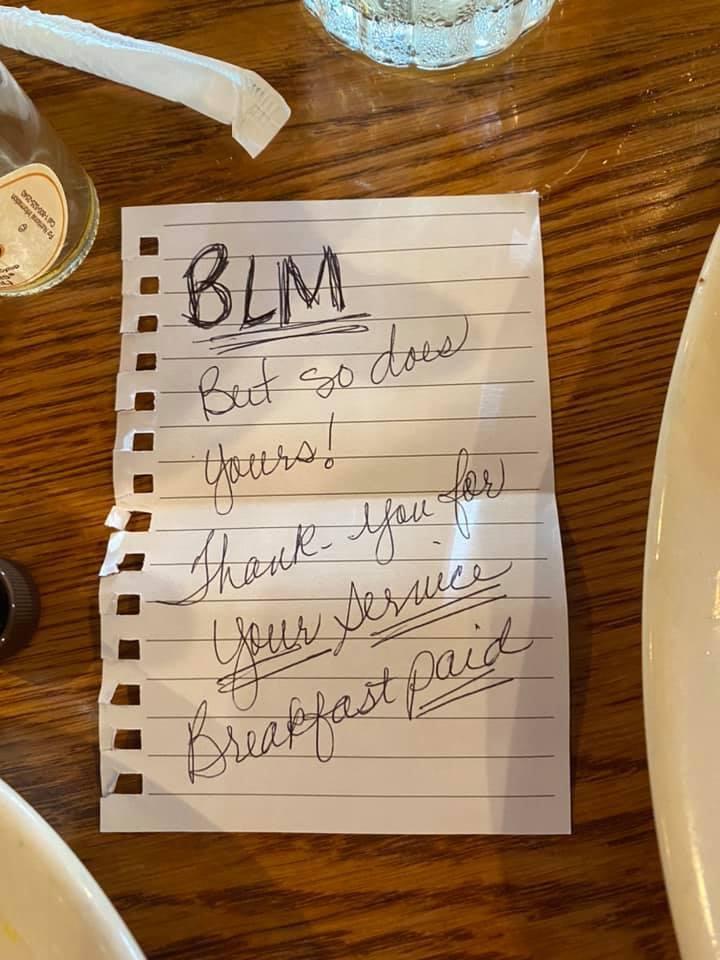 black women pay for white officer meal
