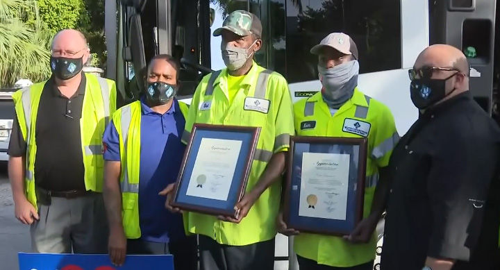 miami community celebrates garbage men