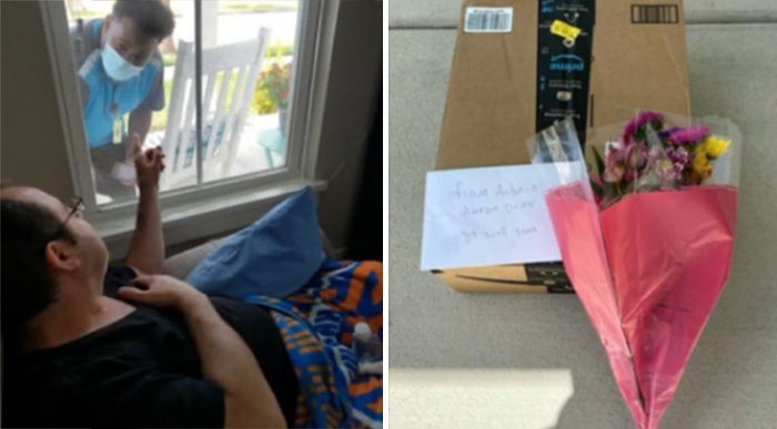 delivery driver flowers and card for sick man