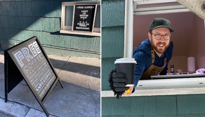 man hands out free coffee to workers