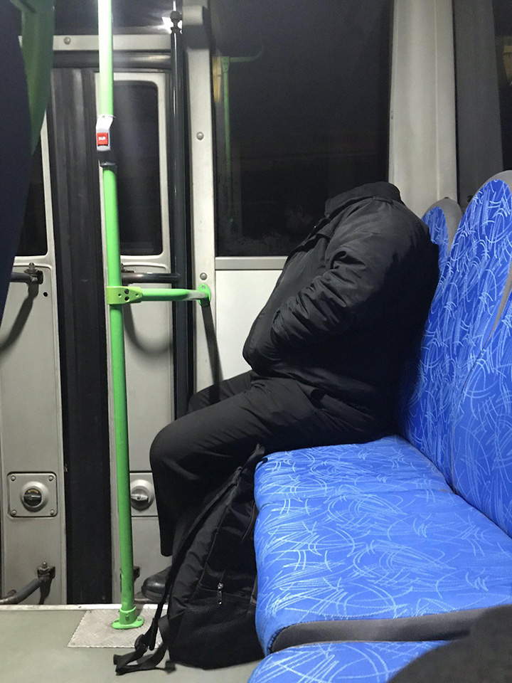 headless man on train confusing perspective