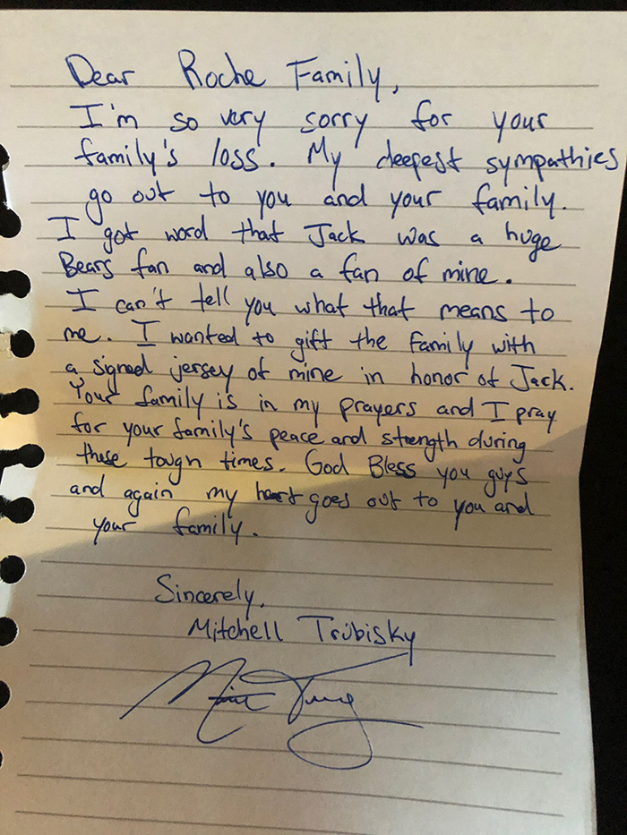 mitch trubisky letter to grieving family
