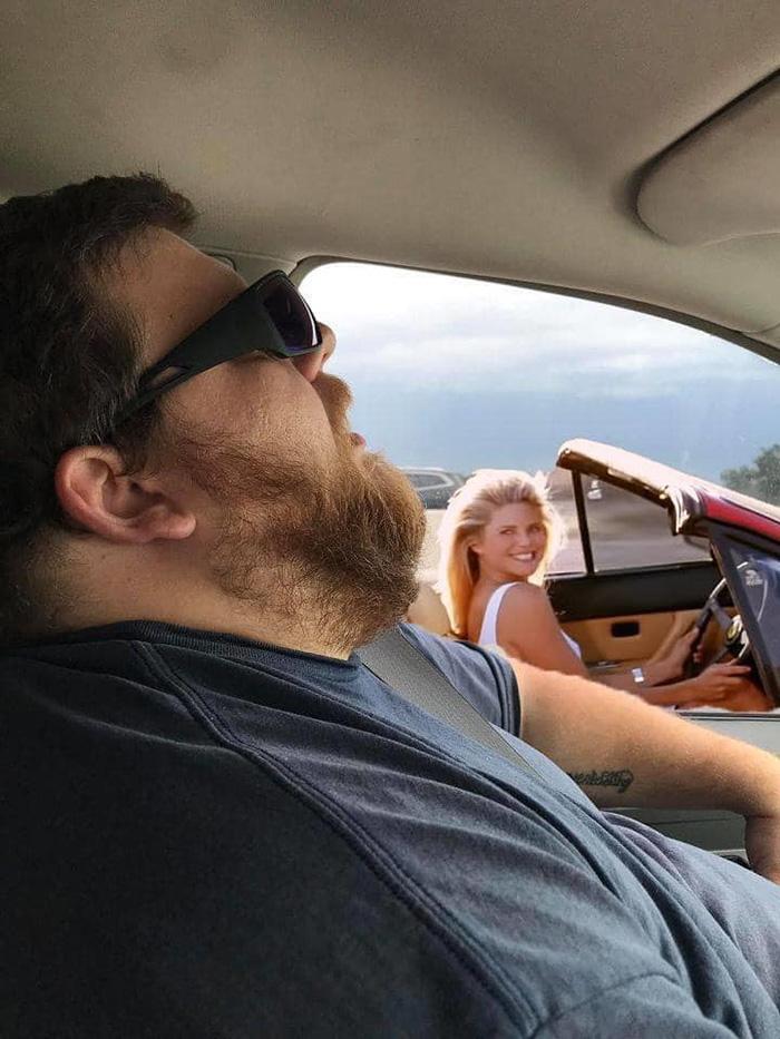 wife asks photoshop help husband asleep on road trip