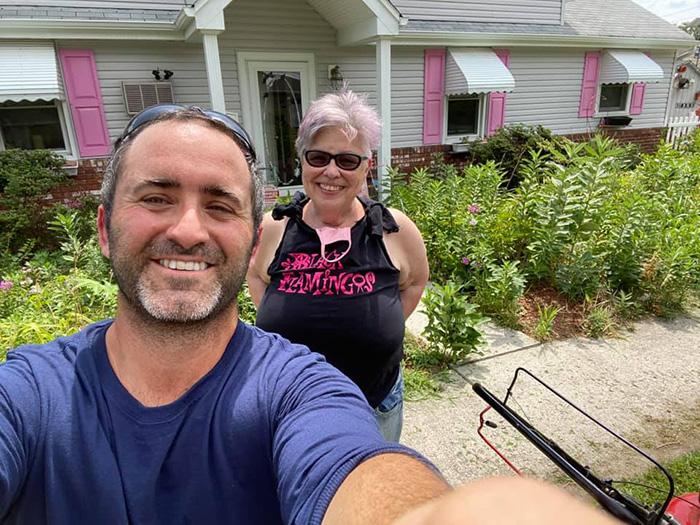 man laid off mows lawns free
