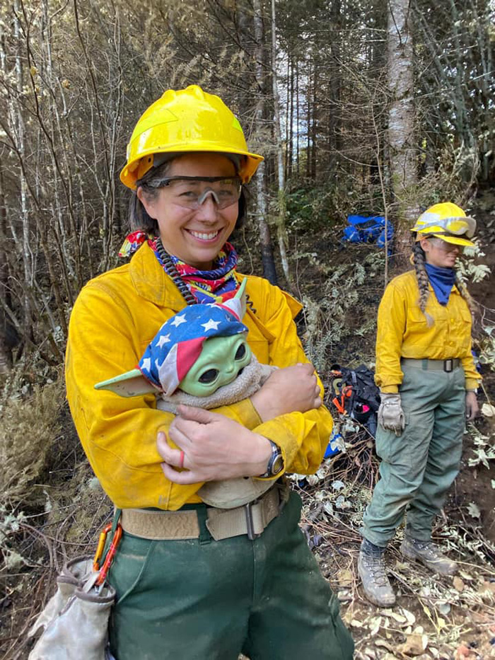 baby yoda fights fires