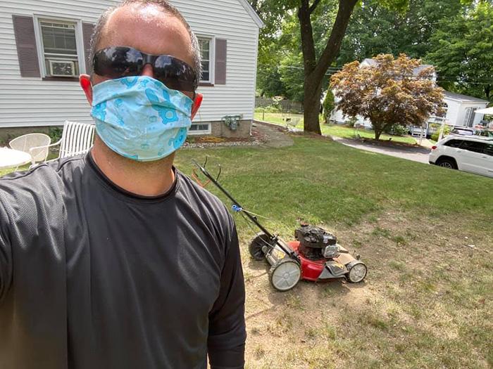 man mows lawns free for seniors