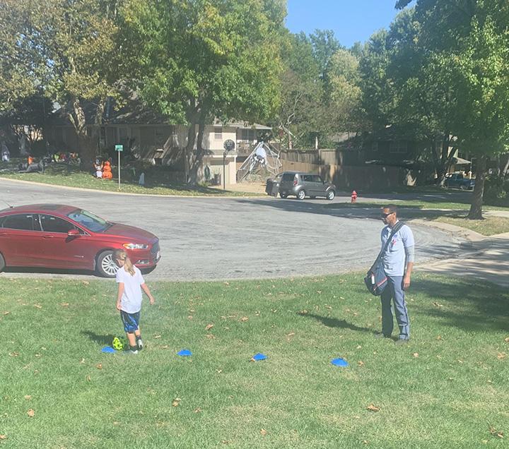 mailman helps girl train for soccer