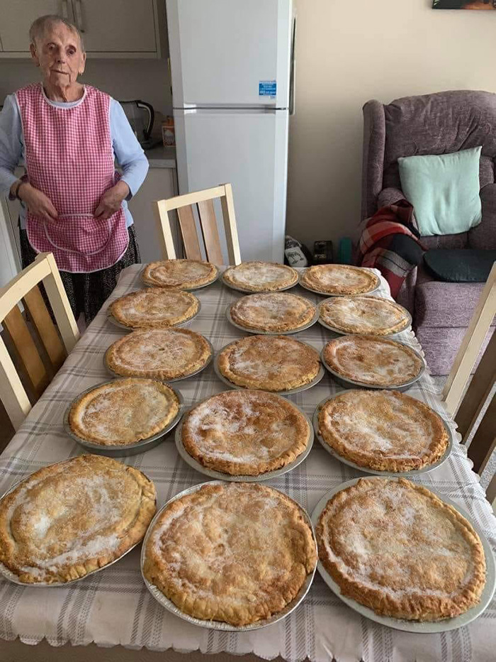 woman cooks pies for elderly and needy