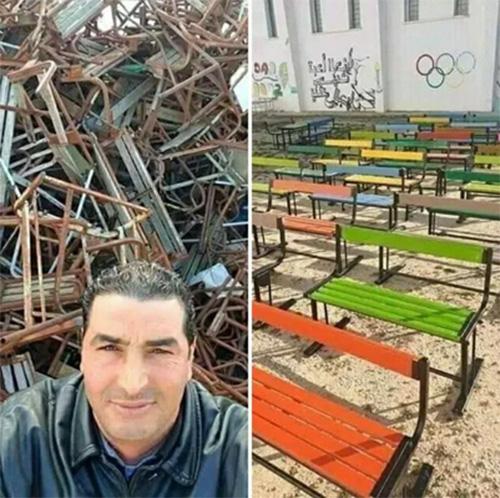 school gatekeeper fixes classroom furniture during quarantine