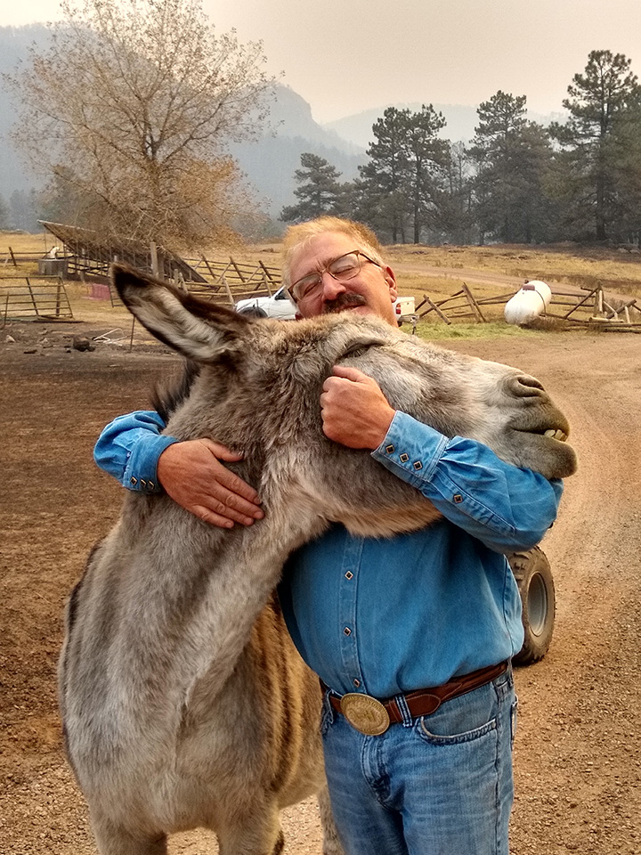 man reunited with donkey after fire