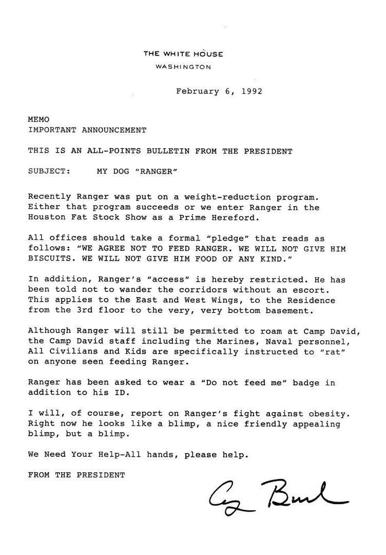george bush letter to staff about dog being fat