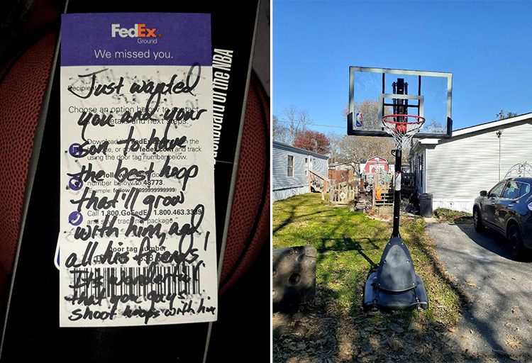 fedex driver gifts boy basketball goal