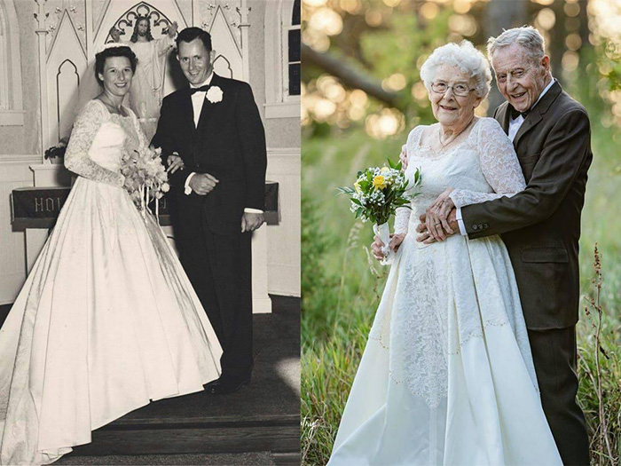 couple celebrates 60th anniversary wedding outfits