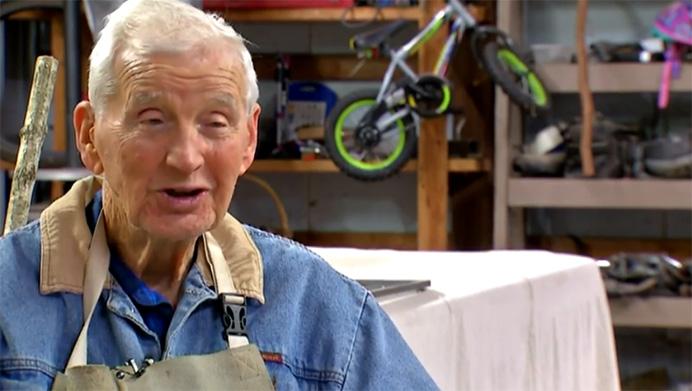 93 year old veteran whittles sticks food pantry