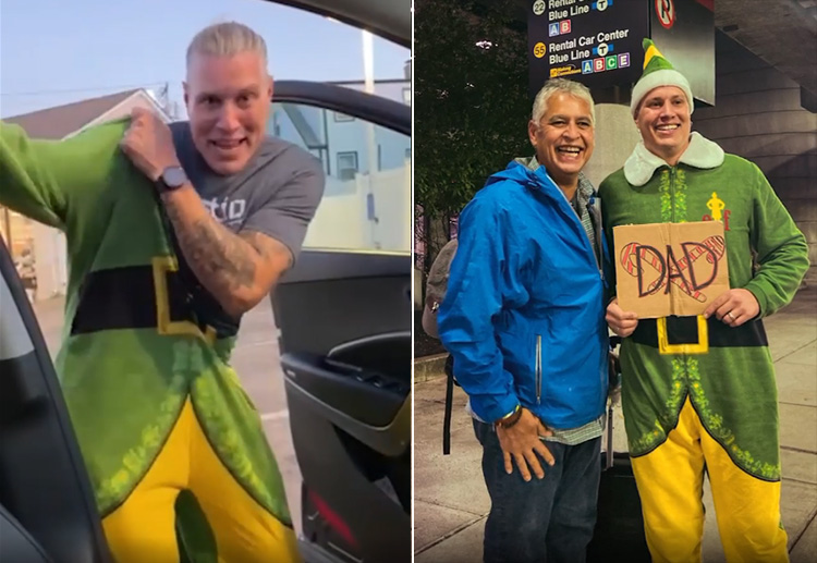 man dresses up as Buddy The elf to meet dad first time
