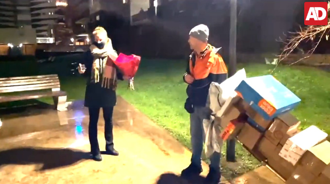 postman amsterdam surprised christmas gift