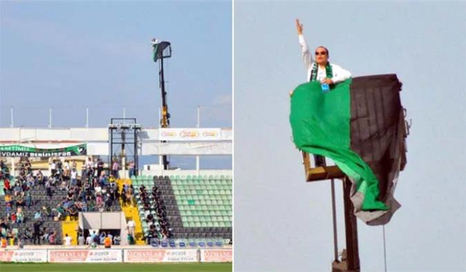 soccer fan rents crane to watch game