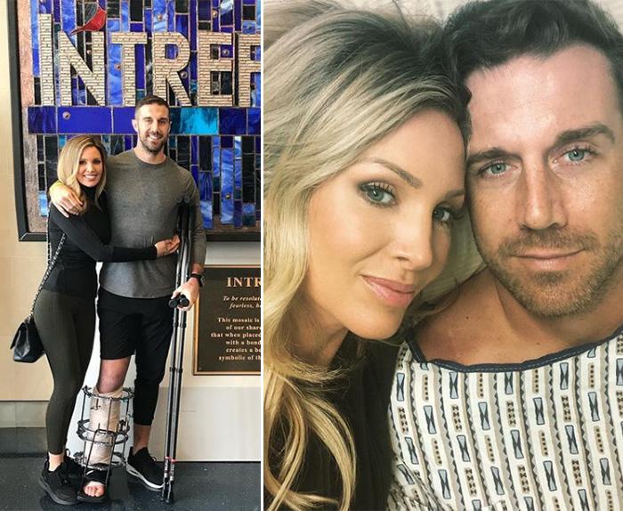 Alex Smith wife leg brace trophy