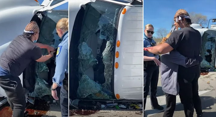 man rescues woman overturned truck punching through windshield