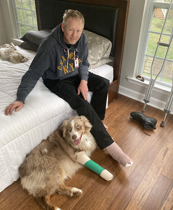 dog and owner matching injuries