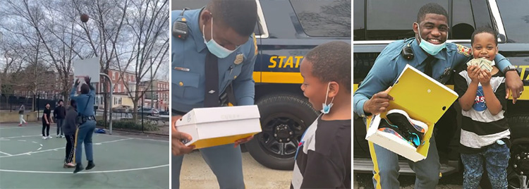 cop surprises kid with Curry sneakers