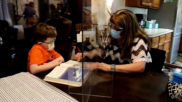 teacher barb heim visits boy with cancer
