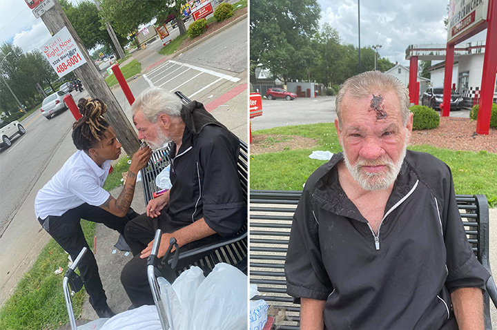 lex moran cuts hiar homeless man